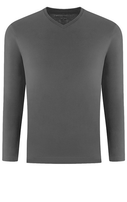 Luxury V--Neck Long Sleeves Pima Cotton Gray TVLS-7024
