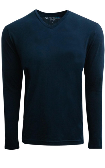 Luxury Long Sleeves V-Neck Pima Cotton Mens Tshirt in NAVY (Softer than ever)  Georg Roth is proud to feature his love of t-shirts.  The World's Greatest T-Shirt Made of natural materials Our guarantee: 100% Supercombined Pima Cotton / Organic Wash UP TO 60 DEGREES Celcius  Zero percent shrinkage, dryer proof Maximum maturity of elasticity & shape Ecological dyes of supreme quality & free of chemicals