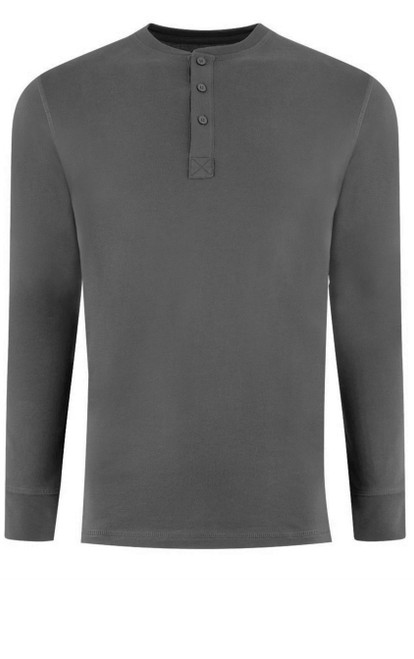 Luxury Long Sleeves Henley Pima Cotton Mens Tshirt in Grey (Softer than ever)  Georg Roth is proud to feature his love of t-shirts.  The World's Greatest T-Shirt Made of natural materials Our guarantee: 100% Supercombined Pima Cotton / Organic Wash UP TO 60 DEGREES Celcius  Zero percent shrinkage, dryer proof Maximum maturity of elasticity & shape Ecological dyes of supreme quality & free of chemicals