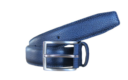 Navy Blue pebble leather belt  What size belt should I get?  If you pant is size 32 you should get belt size 34 If you pant is size 34 you should get belt size 36 and so on...     100% Genuine Leather  Made in Germany