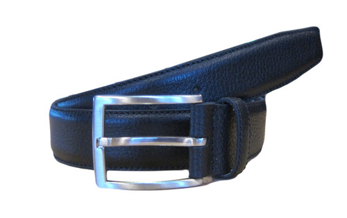 Black pebble leather belt  What size belt should I get?  If you pant is size 32 you should get belt size 34 If you pant is size 34 you should get belt size 36 and so on...     100% Genuine Leather  Made in Germany