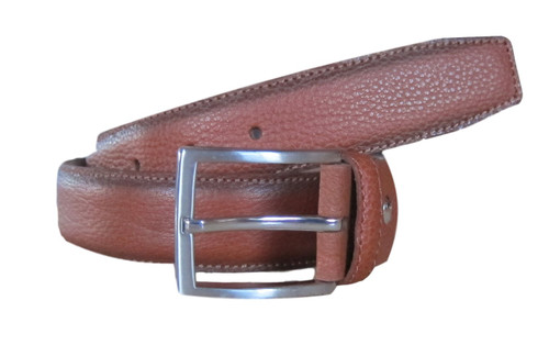 Cognac pebble leather belt  What size belt should I get?  If you pant is size 32 you should get belt size 34 If you pant is size 34 you should get belt size 36 and so on...     100% Genuine Leather  Made in Germany