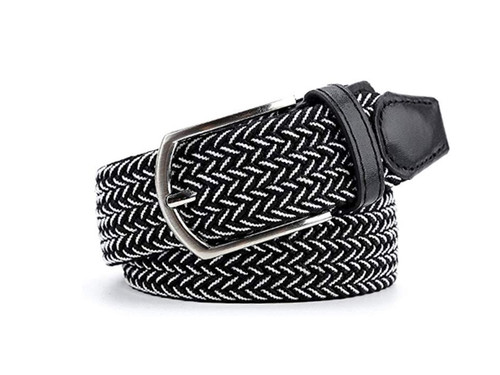 Marburg Sport 09-9008 Black White Braided stretch, Leather trim.  Belt for Jeans or sporty. (Golf)   What size belt should I get?  If you pant is size 32 you should get belt size 34 If you pant is size 34 you should get belt size 36 and so on...  Made in Germany