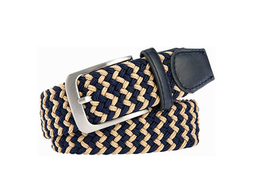 Marburg Sport 11-500 Navy/Sand Stretch Braided, Leather trim Belt for Jeans or sporty. (Golf)   What size belt should I get?  If you pant is size 32 you should get belt size 34 If you pant is size 34 you should get belt size 36 and so on...  Made in Germany