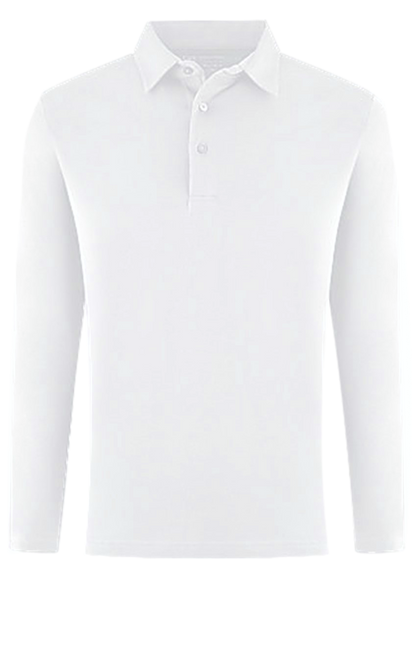 LUXE PIMA LONG SLEEVE POLO WHITE POLS1013