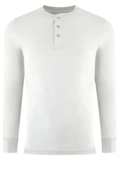 Luxury Long Sleeves Henley Pima Cotton Mens Tshirt in White (Softer than ever)  Georg Roth is proud to feature his love of t-shirts.  The World's Greatest T-Shirt Made of natural materials Our guarantee: 100% Supercombined Pima Cotton / Organic Wash UP TO 60 DEGREES Celcius  Zero percent shrinkage, dryer proof Maximum maturity of elasticity & shape Ecological dyes of supreme quality & free of chemicals