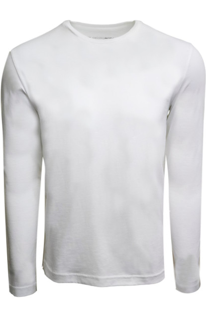 Luxury Long Sleeves Crew-Neck Pima Cotton Mens Tshirt in White (Softer than ever)  Georg Roth is proud to feature his love of t-shirts.  The World's Greatest T-Shirt Made of natural materials Our guarantee: 100% Supercombined Pima Cotton / Organic Wash UP TO 60 DEGREES Celcius  Zero percent shrinkage, dryer proof Maximum maturity of elasticity & shape Ecological dyes of supreme quality & free of chemicals