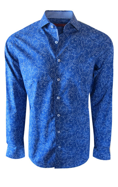 What an eye catcher is our electric blue and white swirl print on our exclusive Luxe Pima cotton fabric. A coordinating blue & white hounds-tooth in the inner collar stand, cuffs and inner placket piping make this shirt stand out for the superior quality and attention to details Georg Roth stands for. For any occasion day into evening with denims and the sleeves rolled, or paired with a jacket and slacks, you will love the way you look.     Long Sleeve   100% Luxe Pima Cotton  Soft collar  Machine or hand wash cold, no bleach  Hang or lay flat to dry