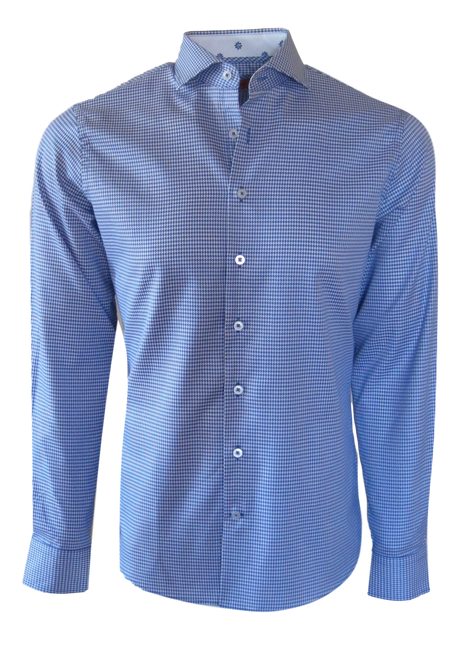 This handsome hounds-tooth is rich and sophisticated in a stunning blue & white on our exclusive luxe pima cotton. For the office or an evening out, this will be a favorite, or on its own with the sleeves rolled, with your fave denims is the perfect casual relaxed look. Detailed to perfection with a coordinating white and royal motif inside the collar stand and cuffs.   100% Luxe Pima Cotton  Machine wash or dry clean