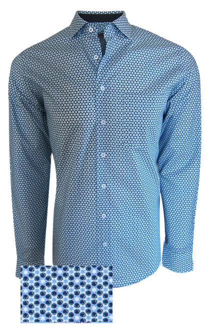 Refreshing, crisp and handsome is this Navy and Aqua green pattern.  A shirt for all seasons , a shirt for all reasons !  From your business meeting to an evening in your favorite casual restaurant.  This elegant shirt is embellished with a solid navy inside collar and cuffs.  It looks great when you roll the sleeves and wear it with Khakis and of course any Jeans. 100% Pima Cotton 1 Breast Pocket Designed and crafted in Peru Machine wash cold, hang to dry -Light iron