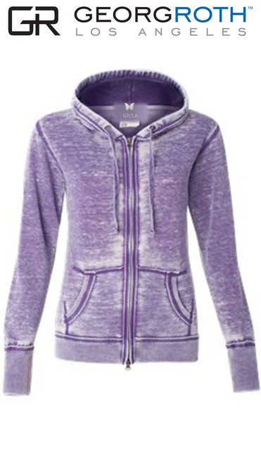 "Your ""Go To"" Light Fleece Hoodie in a stunning Purple color 100% Organic Cotton  Georg calls it ""Cozy Chic"" So soft and easy. Looks awesome with your white denims for spring- summer.  We love to pair it with any of our Tees and your favorite denims.  Slightly fitted at the waist.  Due to the vegetable organic dye, we recommend to wash separately or with colors alike before wearing to prevent color fasting.  Machine wash cold , lay flat to dry"