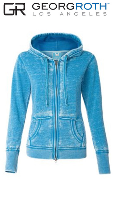 """Your """"Go To"""" Light Fleece Hoodie in a stunning Turquoise 100% Organic Cotton Georg calls it """"Cozy Chic"""" So soft and easy. Looks awesome with your white denims for spring- summer.  We love to pair it with any of our Tees and your favorite denims.  Slightly fitted at the waist.  Due to the vegetable organic dye, we recommend to wash separately or with colors alike before wearing to prevent color fasting.  Machine wash cold , lay flat to dry"""
