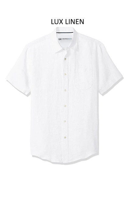 Perfect for warm weather our Short Sleeves Linen Shirt in a crisp white Cool comfort with a relaxed fit, slightly tapered to be worn untucked or paired with a Georg Roth Tee and worn open. Machine or Hand Wash cold, lay flat to try.  90% Linen / 10% Cotton .