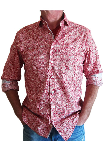 Crisp & clean with just enough detail.  A fun red & white print with a stunning companion fabric in red & navy mini check detailed inside the collar, cuffs and front placket. Roll your sleeves and go or under a jacket you will find this truly versatile and enjoy on any occasion. 100% Cotton Machine or hand wash lay flat to dry