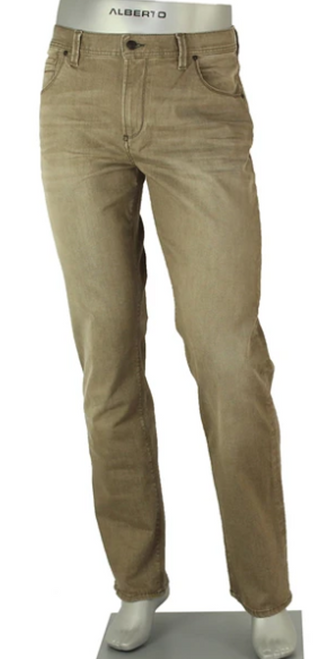 This is the ultimate in comfort by Alberto. Ultra modern option in 10.5 oz. tan-camel denim. Stonewashed, vintage worn look with easy, four-way stretch in 96% cotton/4% elastane. Five pockets, modern fit and rise, straight legs. Machine wash.   SUPERFIT 4 WAY STRETCH  INSEAM 34