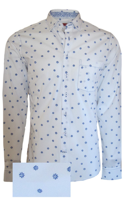 Handsome and crisp is this very detailed shirt. Made of soft luxe Pima Cotton, a motif weave in a crisp blue on white.  Patterned and coordinated with a blue and white print inside the collar stand and cuffs.  So very versatile as it is perfect for casual business or roll the sleeves and wear with denims and a white Georg Roth Pima Tee!  Soft Collar 1 Breast Pocket Machine wash cold, hang or lay flat to dry - Light Iron