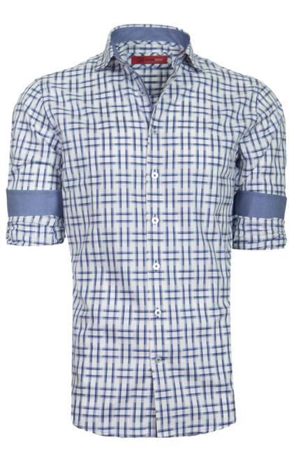 Rich & elegant best describes this handsome woven in cobalt & grey on white. For dress or casual this timeless shirt you will enjoy on any occasion. If it's with your jeans and a jacket or on it's own with the Georg Roth roll of the sleeves. 100 Pima Cotton Machine wash cold Hang or lay flat to dry, light iron