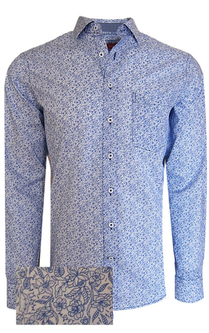 A handsome and masculine small floral print in a crisp blue comes to life with a companion mini navy weave in the collar stand and cuffs. Our super luxe pima cotton is soft and comfortable. Soft collar with hidden button down and 1 breast pocket allows the option to go sporty worn out, or open with a Tee and paired with denims. Dress it up with a jacket for an elegant dressed up look that will certainly show your pride in fashion and detail. Designed & crafted in Peru Machine wash cold  Hang or lay flat to dry - Light Iron