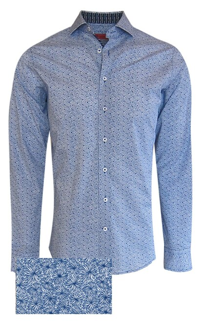 This vibrant mini leaf pattern is timeless and fresh to update your spring summer wardrobe. Detailed with a rich print of navy and turquoise and white show off the detail in the collar stand, cuffs and inner front placket piping.   Looks fantastic with jeans, khakis and the sleeves rolled for a sporty casual look, or dress it up with a jacket.  100% Luxe Pima Cotton  Machine or hand wash cold, no bleach  Hang or lay flat to dry