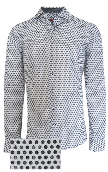 """A Georg Roth """"go to"""" for business or casual, there's nothing like a great Black & White in your closet. Our print dot pattern stands out with the detailed companion fabric inside the collar stand, cuffs and inner front placket piping. Our luxury pima woven is super soft and feels great. With the sleeves rolled and black jeans or open with a black tee, you will feel like a million. For that classic business look, with a jacket or on it's own you will definitely feel fashionably dressed  """"Classic, with a twist of details"""".   Washes easily  Machine wash cold, lay flat or hang to dry Dry clean okay"""