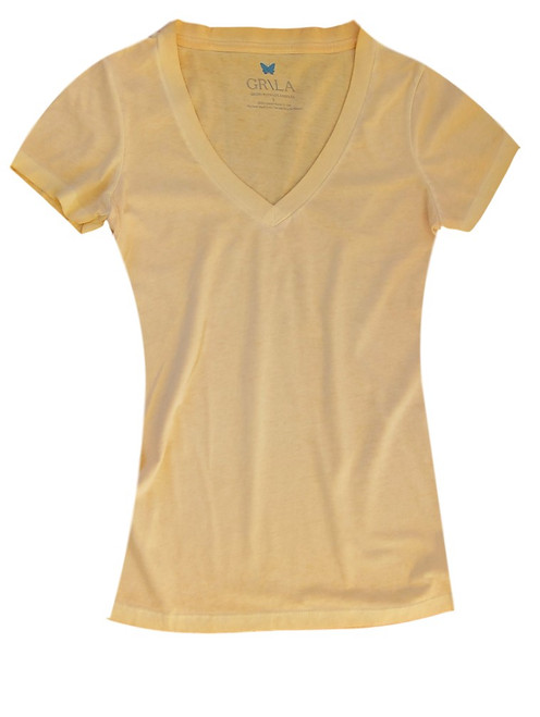 Beautiful shades of Yellow Garment dye.  Deep V Neck with a longer length just below the hips  Form Fitted (For a more relaxed look, we recommend to size up)  100% Cotton  Machine wash or hand wash cold, lay flat to dry