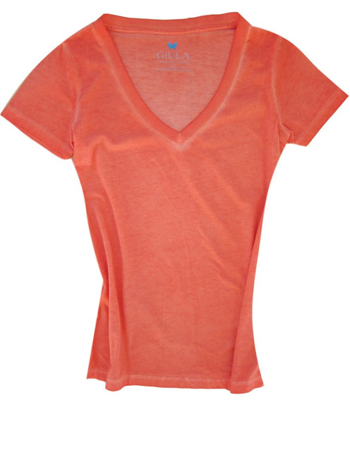 Beautiful shades of Orange Garment dye.  Deep V Neck with a longer length just below the hips  Form Fitted (For a more relaxed look, we recommend to size up)  100% Cotton   Machine wash or hand wash cold, lay flat to dry
