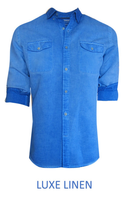 Perfect for warm weather our Long Sleeves Linen Shirts in an eye catching blue lagoon. Cool comfort with a relaxed fit, slightly tapered to be worn untucked or paired with a Georg Roth Tee and worn open. Machine or Hand Wash cold, lay flat to try.  . .