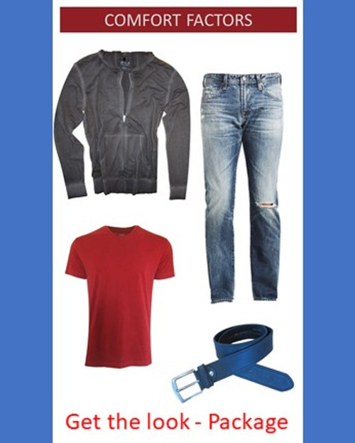 As we are living our lives more casual and from the comfort of our homes, we have compiled for you our favorite items that you will enjoy for whatever your day brings. If it is that video call, lounging or getting a breath of fresh air our distressed AG Jeans will feel great and give you the effortless styled look. Paired with our Garment wash hoodie in grey and a Luxe Pima Tee V Neck, in perfect Red makes a fantastic statement of Cool Casual. Love the icing on the cake... the Regensburg Indigo vintage belt.  Your package consists of Jeans, Hoodie in Grey, Pima Tee V in Red and a very cool belt Regensburg in an Indigo Blue  Please specify your jean size at checkout under notes.  100 Cotton  Chemical Free  Machine or handwash and lay flat to dry!