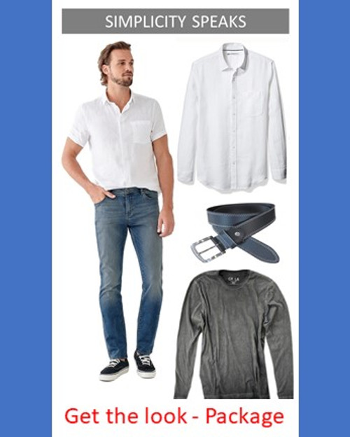 For those that appreciate the simple classics our Simplicity Speaks package is feel good with an easy carefree look. There is nothing like a crisp white linen shirt with a great pair of Jeans. Our Premium Denim by DL 1961 feel incredible with a great fit, slightly tapered leg. Our long sleeve linen shirt in crisp white is slightly relaxed with 1 breast pocket - Roll the sleeves and go , or pair it with a tee and wear open as a shirt jacket. Change things up for those chilly moments with our super soft long sleeve, crew neck Garment Tee in Basalt grey ( You won't want to take it off!). For that finished look we include our leather Hamburg belt in black with white stitch detail and the metal buckle.  Package include Jeans, Long Sleeve Linen Shirt, Long Sleeve Crew Grey Tee, Hamburg Belt  Please include your Jean size in notes at checkout  100 Cotton  Chemical Free  Machine or handwash and lay flat to dry!