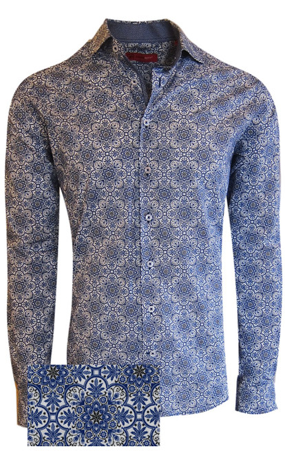 Rich & elegant describes our limited edition Liberty Kaleidoscope print in blue & grey. As always the details matter, and our mini coordinate pattern stands out in the collar stand, cuffs and inner front placket piping. Slightly tapered at the waist with a spread collar gives you total flexibility for casual or dress. Worn open with a Georg Roth luxe pima tee and the sleeves rolled with denims, or with a jacket and khakis you will certainly look styled and feel great.    100% Luxe Pima Cotton  Machine or hand wash cold, no bleach  Hang or lay flat to dry