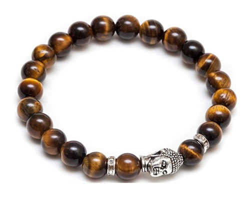Mens Vintage Buddha Beaded Stretch Bracelet -  Natural 8mm  Tigers Eyes Semi-Precious
