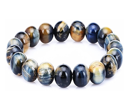 10mm Tiger Eye Stone Bracelet  Handmade  Stretch Strand Bracelets