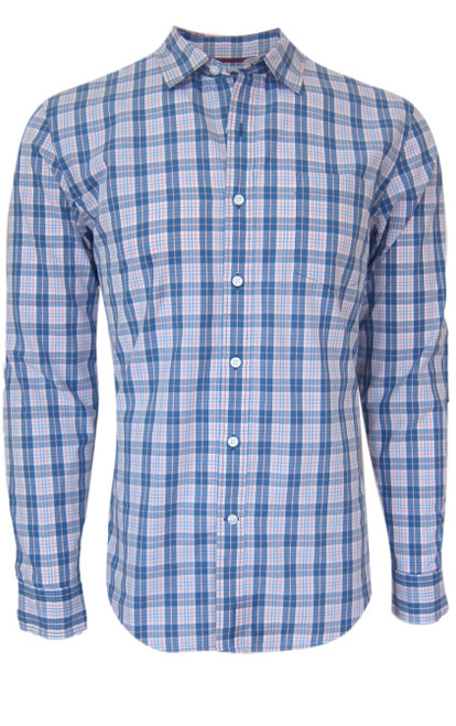 Super soft cotton casual comfort shirt in a handsome masculine shade of blue and pink. 1 breast pocket. Small relaxed collar. Machine wash cold, lay flat to dry, warm iron Made in Peru 100 Cotton