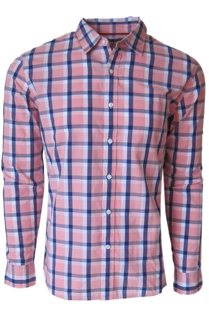 Super soft cotton casual comfort shirt in a handsome masculine shade of blue and pink. 1 breast pocket. Small relaxed  button down collar. Machine wash cold, lay flat to dry, warm iron Made in Peru 100 Cotton