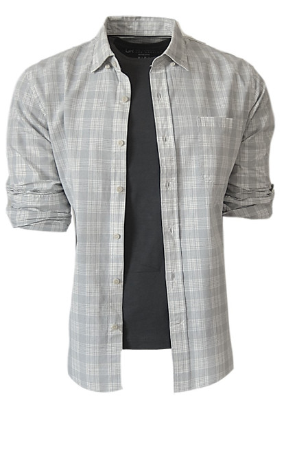 Casual comfort shirt with a linen look in Grey & Eggshell plaid 1 breast pocket. Small relaxed hidden Button down collar. Machine wash cold, lay flat to dry, warm iron Made in Peru 100 Cotton