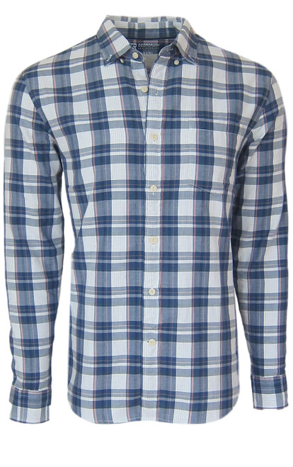 Super soft cotton casual comfort shirt in a handsome masculine shade of blue and blush. Fabric is double sided with a blue & white stripe, giving that hint of detail when rolling the sleeves. 1 breast pocket. Small relaxed button down collar. (For a lived in effortless look it is stylish to leave the collar button down un buttoned) Machine wash cold, lay flat to dry, warm iron Made in Peru 100 Cotton
