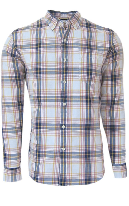 Super soft cotton casual comfort shirt in a handsome masculine shade of blue, yellow and blush. Fabric is double sided with a blue & white stripe, giving that hint of detail when rolling the sleeves. 1 breast pocket. Small relaxed button down collar. (For a lived in effortless look it is stylish to leave the collar button down un buttoned) Machine wash cold, lay flat to dry, warm iron Made in Peru 100 Cotton