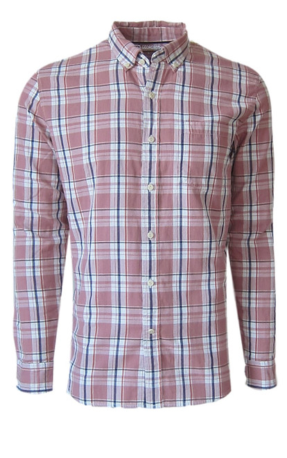 Super soft cotton casual comfort shirt in a handsome masculine shade of Salmon & Blue. Fabric is double sided with a blue & white stripe, giving that hint of detail when rolling the sleeves. 1 breast pocket. Small relaxed button down collar. (For a lived in effortless look it is stylish to leave the collar button down un buttoned) Machine wash cold, lay flat to dry, warm iron Made in Peru 100 Cotton