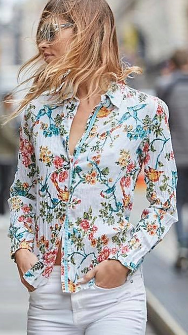 Fresh & vibrant easy cotton crinkled button down shirt. Looks great with sleeves down or rolled. 100% Cotton - Very easy to wash and go!