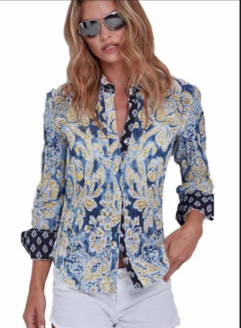Easy...Breezy is our Ibiza crinkle shirt in beautiful shades of blue and yellow - Lots of details with a contrasting pattern in the cuffs and front placket Easy care - Wash, crinkle and go 100% Cotton