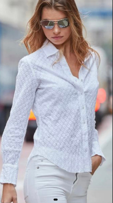 White embroidery sheer crinkle button up shirt. Crisp & Sexy on its own with a pretty bra or bikini top or over a cami. Easy care Machine wash cold and twist to get the crinkle effect.