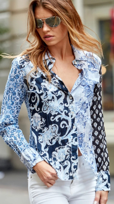 You will certainly love the way you feel in Beautiful blues shades of patterns mixed on this crinkle cotton voile is great for casual days with shorts or dressed up with denim or whites  Care free and washes easy.  Machine wash cold and lay flat to dry - twist up for the crinkle effect or iron for crisp look