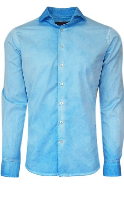 24016W- Kauai Mens Long Sleeves Garment Dyed Turquoise