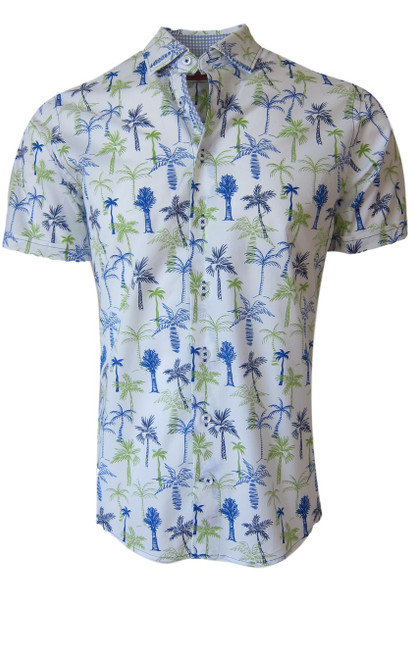 Summer ready - Super light and soft Pima Cotton short sleeve palm print looks great with shorts, denims or khakis. A Georg favorite look is to wear the shirt open with a Tee. Machine wash or hand wash cold, hang or lay flat to dry 100% Pima Cotton