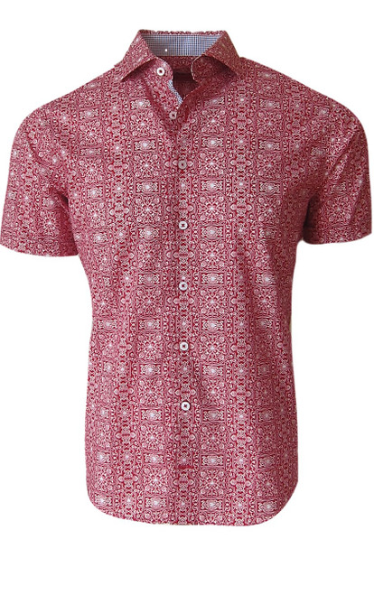Short Sleeves and ready for summer - Red & White print with a rich contrast in the collar stand and front placket piping. A great look with whites or jeans and your favorite shorts. Easy and effortless style worn open with a tee. 100 Pima Cotton Machine or hand wash, lay flat or hang to dry
