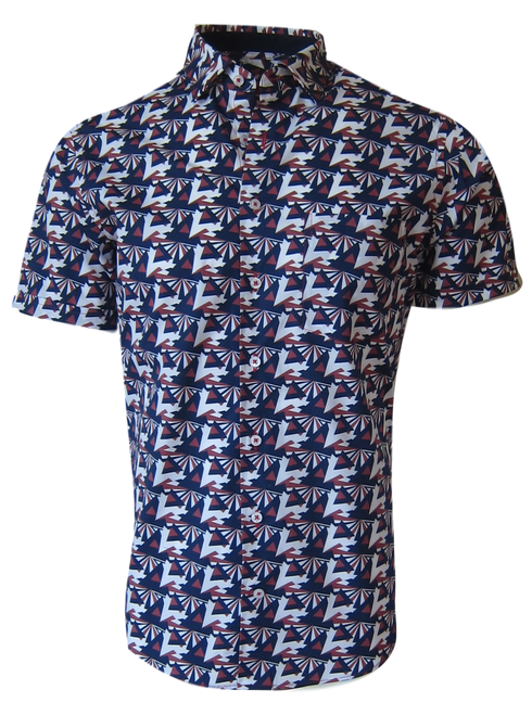 Summer ready - Short Sleeves  This Art Deco patterned Indigo Blue and Sienna Red color combination is truly unique. Pair with your whiteS, or denim for a cool casual look. Kick it up a notch and wear it open with a tee and shorts and you will surely command attention.  Short Sleeve Hidden Button down 1 Breast Pocket  100% Luxe Pima Cotton  Machine or hand wash cold, no bleach  Hang or lay flat to dry