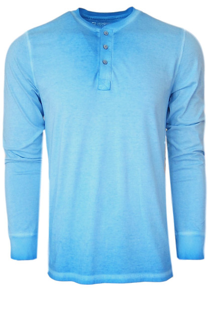Luxury Long Sleeves Henley Pima Cotton Mens Tshirt in Canary Blue (Softer than ever)  Georg Roth is proud to feature his love of t-shirts.  The World's Greatest T-Shirt Made of natural materials Our guarantee: 100% Supercombined Pima Cotton / Organic Wash UP TO 60 DEGREES Celcius  Zero percent shrinkage, dryer proof Maximum maturity of elasticity & shape Ecological dyes of supreme quality & free of chemicals