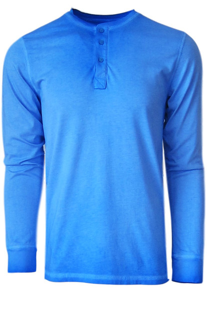 Luxury Long Sleeves Henley Pima Cotton Mens Tshirt in Blue Lagoon (Softer than ever)  Georg Roth is proud to feature his love of t-shirts.  The World's Greatest T-Shirt Made of natural materials Our guarantee: 100% Supercombined Pima Cotton / Organic Wash UP TO 60 DEGREES Celcius  Zero percent shrinkage, dryer proof Maximum maturity of elasticity & shape Ecological dyes of supreme quality & free of chemicals