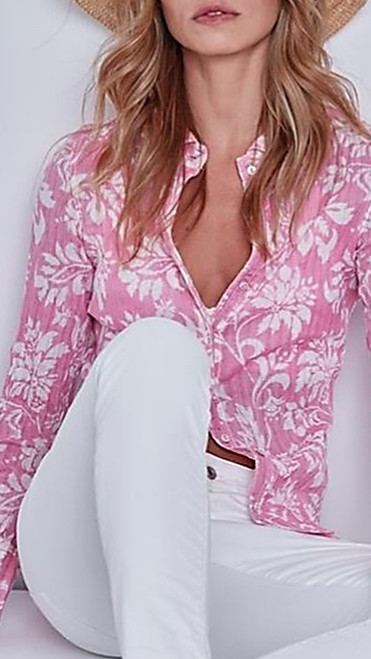 For the love of Pink - Vibrant and playful all over print shows beautifully with any white bottom. Casual crinkle cotton looks and feels dressed for any occasion. Roll up the sleeves with shorts or pair under a jacket and you will love the way you feel.  Washes with ease Machine wash cold or hand wash and twist to crinkle or for a cleaner crisp look you may iron