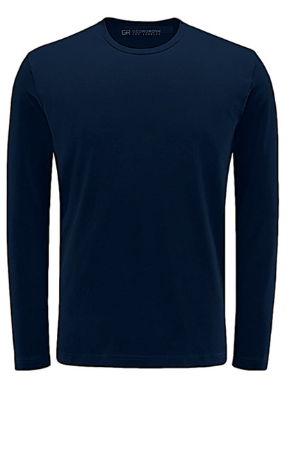 Luxury Long Sleeves Crew-Neck Pima Cotton Mens T-shirt in Navy (Softer than ever)  Georg Roth is proud to feature his love of T-shirts.  The World's Greatest T-Shirt Made of natural materials Our guarantee: 100% Supercombined Pima Cotton / Organic Wash UP TO 60 DEGREES Celcius  Zero percent shrinkage, dryer proof Maximum maturity of elasticity & shape Ecological dyes of supreme quality & free of chemicals